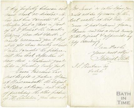 Manuscript letter from Frederick Fortt, December 30th 1880
