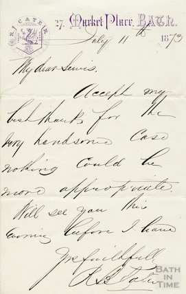 Manuscript letter from Richard Cater, July 11 1873
