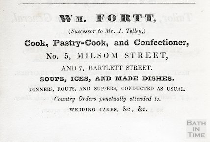 Advertisement for Wm Fortt, 5 Milsom Street and 7 Bartlett Street, Bath 1833