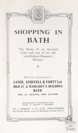 Title page of pamphlet celebrating the refurbishment of Cater, Stoffell and Fortt in the High Street, Bath c.1920
