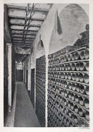 Section of the Wine Cellar in the basement of Cater, Stoffell and Fortt in the High Street, Bath, c.1920