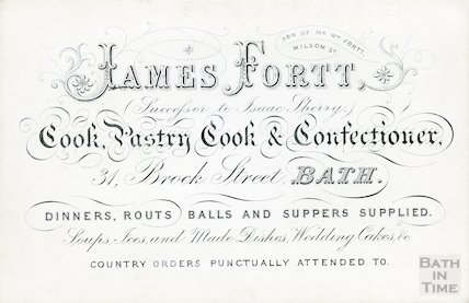 Trade Card for James Fortt, Cook, Pastry Cook & Confectioner