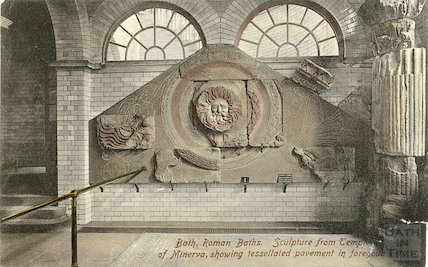 Hand tinted postcard of the pediment to the Temple of Minerva at the Roman Baths, c.1920?