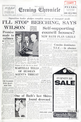 Front page of the Bath & Wilts Evening Chronicle, Monday July 8 1963