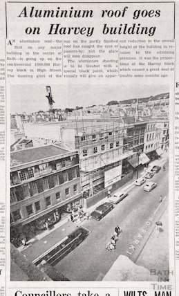 Aluminium roof goes on Harvey Buildings, High Street, Bath, Feb 1964