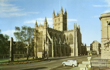 Postcard view of Bath Abbey from Orange Grove, 1960