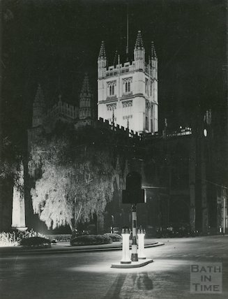 Bath Abbey Church East End flood-lit during the Coronation of George VI, 1937