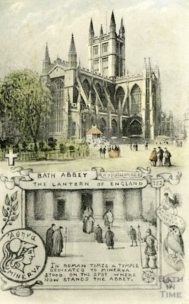 Postcard of Bath Abbey from Orange Grove, 1911