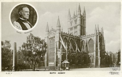 Postcard of Bath Abbey from Orange Grove with Bishop Kennion
