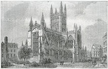 Bath Abbey from Illustrated Handbook to Bristol, Clifton and neighbourhood. S. D. Major 1872