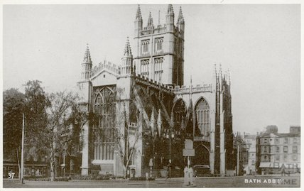 Postcard of Bath Abbey from North East Orange Grove