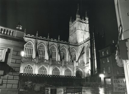 Bath Abbey from the south west, new floodlighting 1981