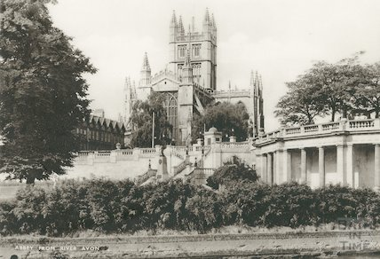 Bath Abbey from River Avon, c.1920s