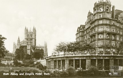Postcard of Bath Abbey view from North East showing Empire Hotel, c.1930s
