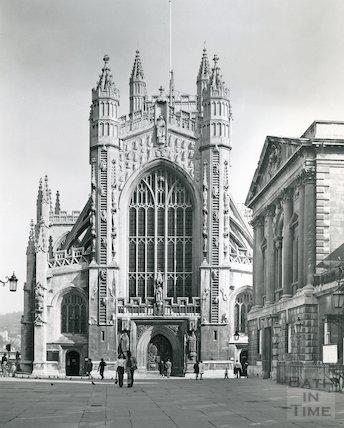 Bath Abbey west front and Abbey Church Yard, 1975/7