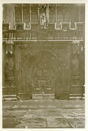 Bath Abbey west door, 20 November 1945