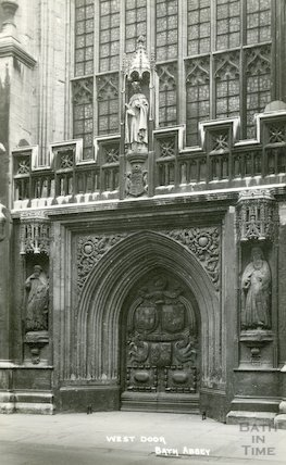 Postcard of west door Bath Abbey, c.1920s