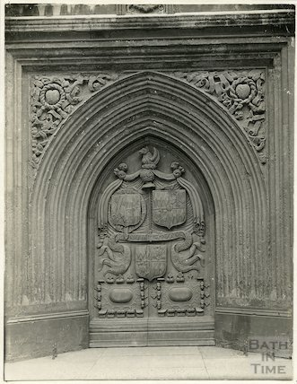 Bath Abbey Church close-up view of west door c.1920s?