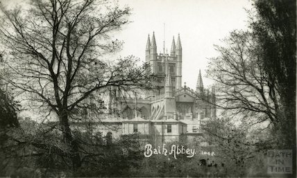 Postcard of Bath Abbey viewed across the River Avon, c.1910