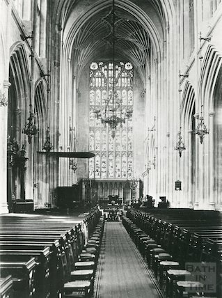 Bath Abbey interior looking East, c.1920s?