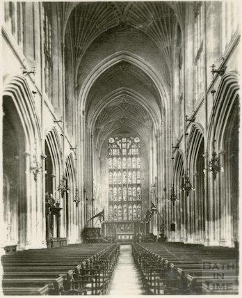 The interior of Bath Abbey, Bath, c.1920s?