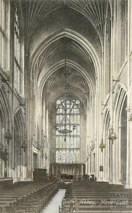 Postcard of Bath Abbey nave east, c.1910?