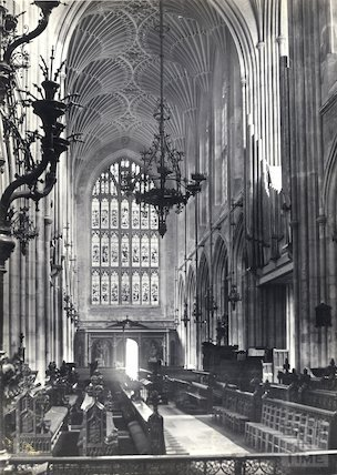 Bath Abbey nave and choir looking west 1877