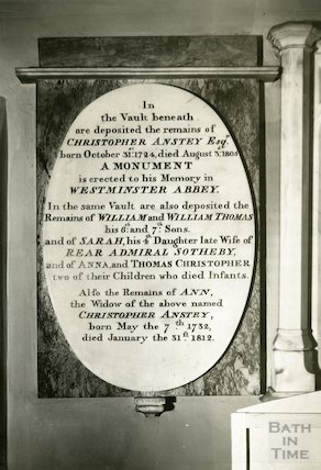 Bath Abbey Church memorial to Christopher Anstey, c.1930s
