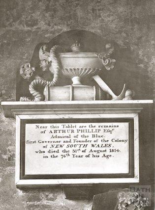 Bath Abbey. Admiral Phillip memorial