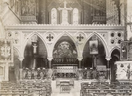 View of altar St. John's Church, Bath, c.1890