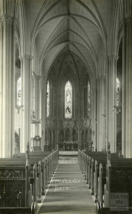 Postcard of interior of St. Michael's Church nave looking east, c.1920s