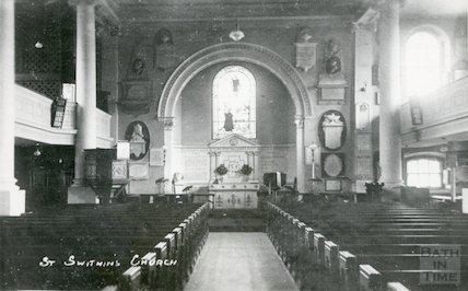 Interior of St. Swithin's Walcot Church 1942 East window destroyed in bombing
