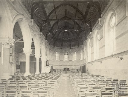 St. Paul's Church (Holy Trinity) nave looking east, c.1890