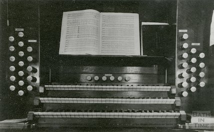Console of the organ in St. James' Church, Bath (destroyed during Blitz in April 1942)