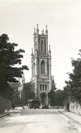 St. Stephen's Church view of west end and tower from Lansdown Road, c.1912