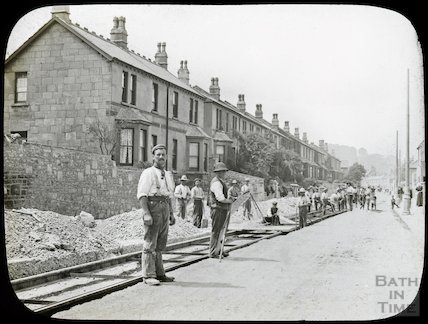 Tram track laying in Lower Bristol Road, Vernon Terrace, Twerton, summer 1903