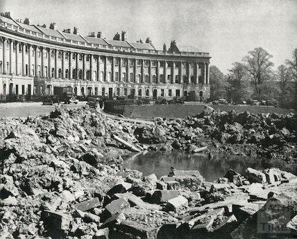 Wartime bomb damage outside the Royal Crescent, Bath, April 1942