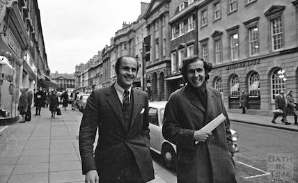 Paul Pritchard and Michael Mollet walking down Milsom Street, 12 January 1972