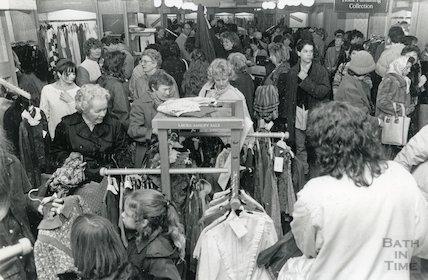 Shoppers at the Laura Ashley sale, New Bond Street, Bath December 1987