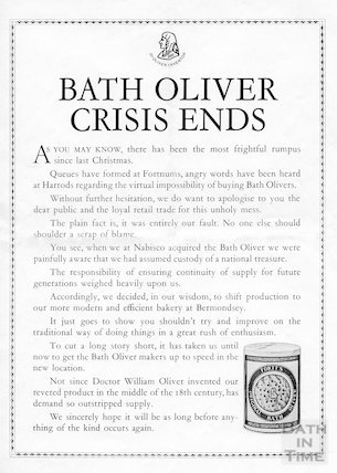 Bath Oliver Crisis Ends. Advertisement from 1984