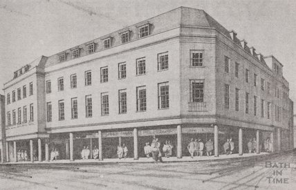 Architect's impression of the proposed Harvey Block, High Street, Bath, 1964