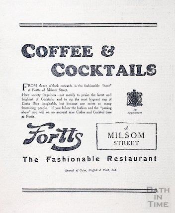 Fortt's Restaurant advertisement, Milsom Street, Bath, 1930