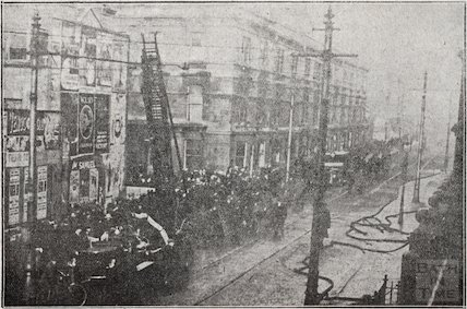 The fire at Oliver's Biscuit Factory, Manvers Street, Bath, January 1919