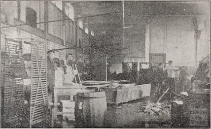 The aftermath of the fire at Oliver's Biscuit Factory, Manvers Street, Bath, January 1919