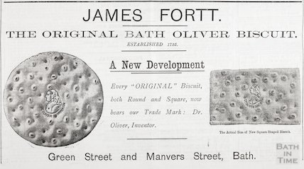 Advertisement for James Fortt, The Original Bath Oliver Biscuit, 1909