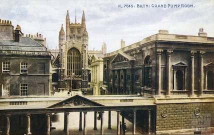 Postcard view of the Grand Pump Room and Abbey Church Yard, Bath c.1910