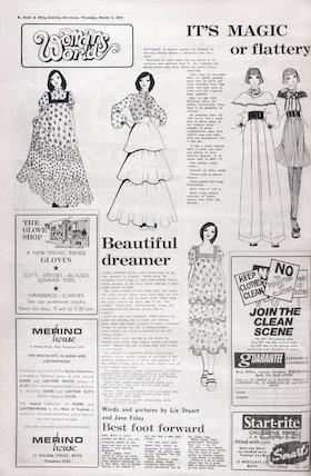 Fashion feature including Laura Ashley in Bath, March 2, 1972