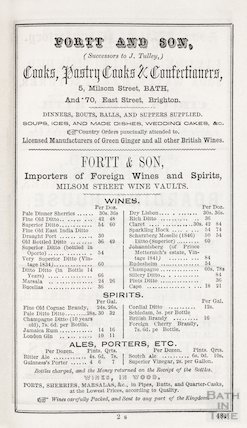 Advertisement in Bath Directory for Fortt and Son, 1854