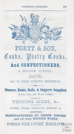 Advertisement in Bath Directory for Fortt and Son, 1858