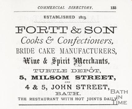 Advertisement in Bath Directory for Fortt & Son, Bath 1888